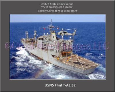 USNS Flint T-AE 32 Personalized ship Photo
