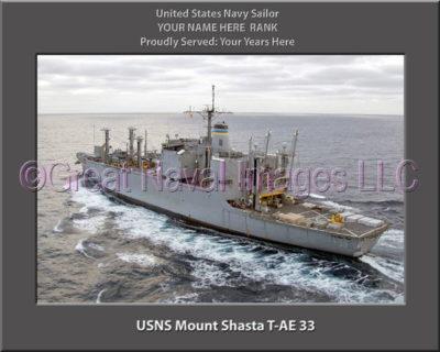 USNS Mount Shasta T-AE 33 Personalized ship Photo