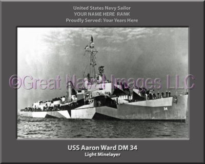 USS Aaron Ward DM 34 Personalized Photo on Canvas