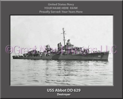USS Abbott DD 629 Personalized Photo on Canvas