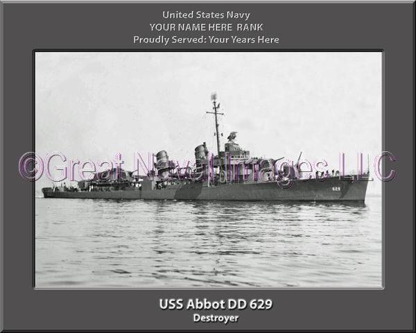 USS Abbott DD 629 Personalized Photo on Canvas