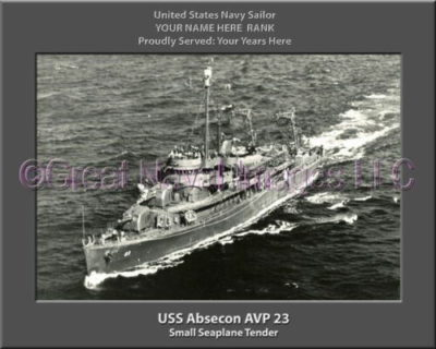 USS Abesecon AVP 23 Personalized ship Photo