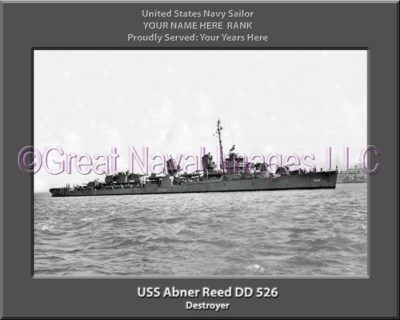 USS Abner Reed DD 526 Personalized Photo on Canvas