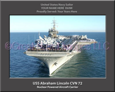 USS Abraham Lincoln CVN 72Personalized Photo on Canvas