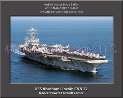 USS Abraham Lincoln CVN 72 Personalized Photo on Canvas