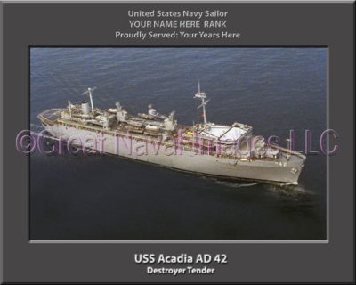 USS Acadia AD 42 Personalized ship Photo
