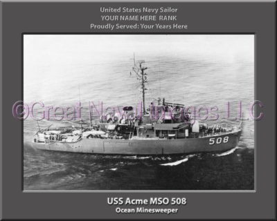 USS Acme MSO 508 Personalized Photo om Canvas