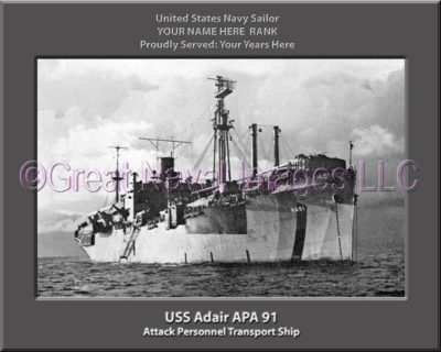 USS Adair APA 91 Personalized Ship Photo on Canvas