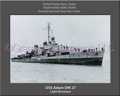 USS Adam DM 27 Personalized Photo on Canvas