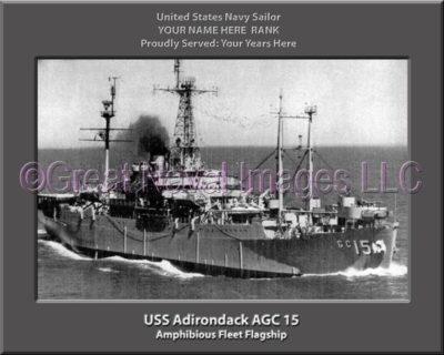 USS Adirondack AGC 15 Personalized Navy Ship Photo