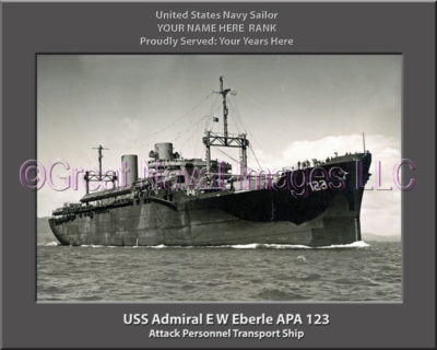 USS Admiral EW Eberle APA 12 Personalized Ship Photo on Canvas3