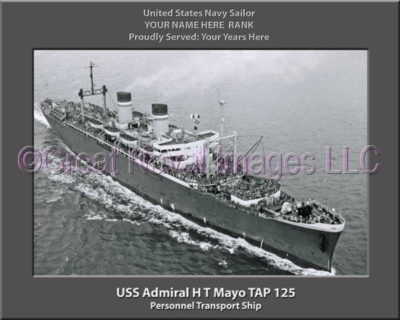 USS Admiral H T Mayo TAP 125 Personalized Ship Photo on Canvas