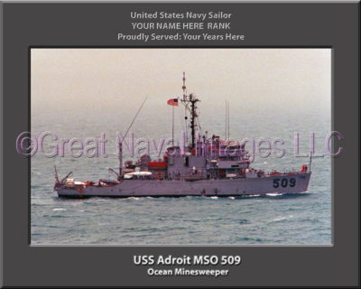 USS Adroit MSO 509 Personalized and Printed on Canvas