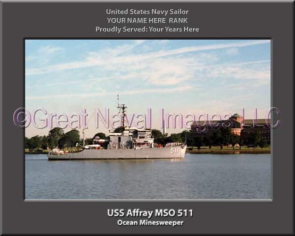 USS Affray MSO 511 Personalized and Printed on Canvas