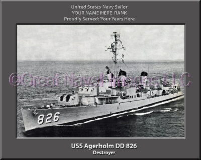 USS Agerholm DD 826 Personalized Photo on Canvas