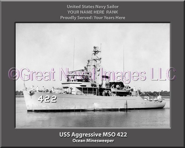 USS Aggressive MSO 422 Personalized and Printed on Canvas