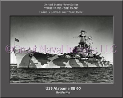 USS Alabama BB 60 Personalized Photo on Canvas