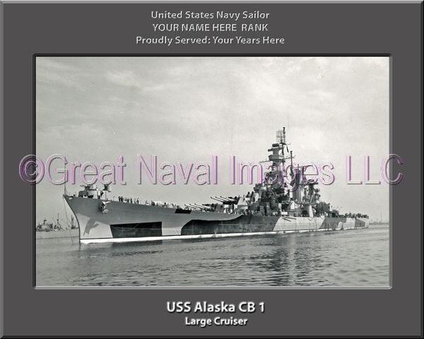 USS Alaska CB 1 Personalized Navy Ship Photo Printed on Canvas