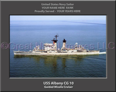 USS Albany CG 10 Personalized Navy Ship Photo Printed on Canvas