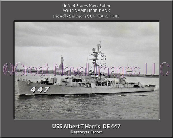 USS Albert T Harris DE 447 Personalized Photo on Canvas