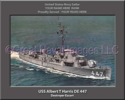 USS Albert T Harris DE 447 Personalized Photo on Canvas