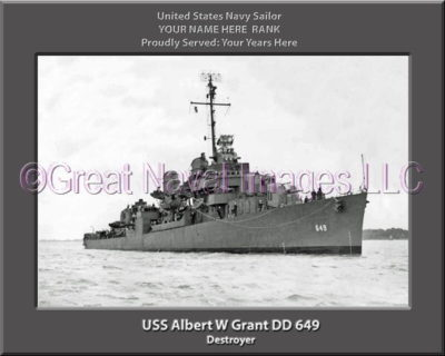 USS Albert W Grant DD 649 Personalized Photo on Canvas