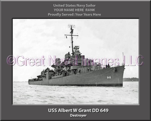 USS Albert W Grant DD 649 Personalized Photo on Canvas