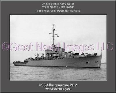 USS Albuquerque PF 7 Personalized Navy Ship Photo