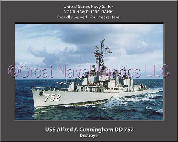 USS Alfred A Cunningham DD 75 Personalized Photo on Canvas2