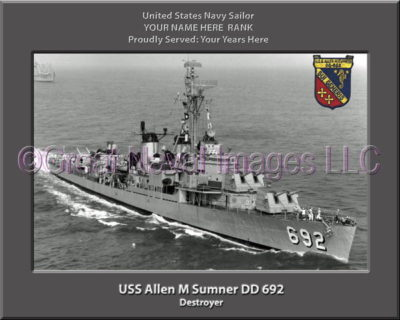 USS Allen M Sumner DD 692 Personalized Photo on Canvas