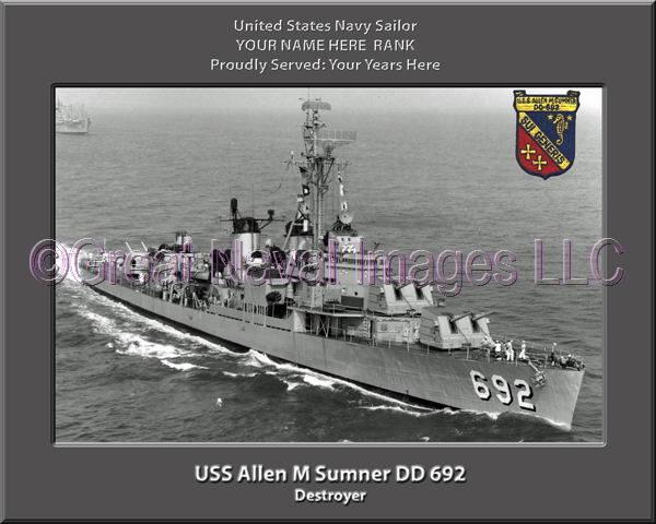 USS Allen M Sumner DD 692 Personalized Photo on Canvas