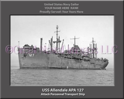 USS Allendale APA 127 Personalized Ship Photo on Canvas