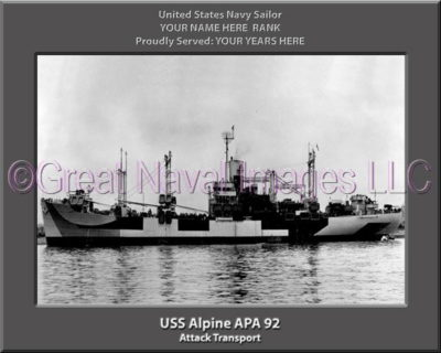 USS Alpine APA 92 Personalized Ship Photo on Canvas