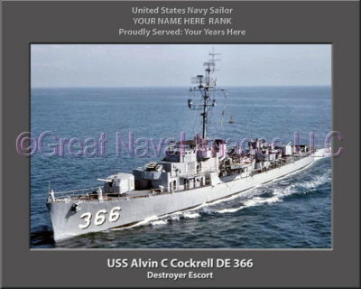 USS Alvin C Cockrell DE 366 Personalized Photo on Canvas