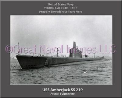 USS Amberjack SS 219 Personalized Photo on Canvas