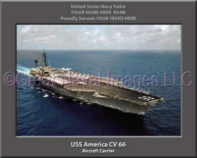 USS America CV 66 Personalized Photo on Canvas