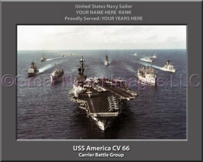 USS America CV 66 Carrier Battle Group Personalized Photo on Canvas