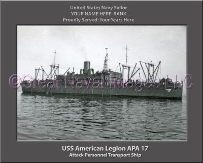 USS American Legion APA 17 Personalized Ship Photo on Canvas