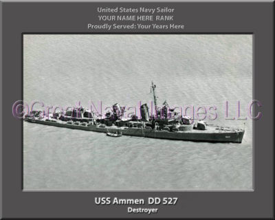 USS Ammen DD 527 Personalized Photo on Canvas