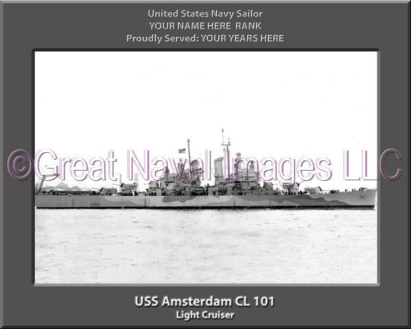 USS Amsterdam CL 101 Personalized Navy Ship Photo Printed on Canvas