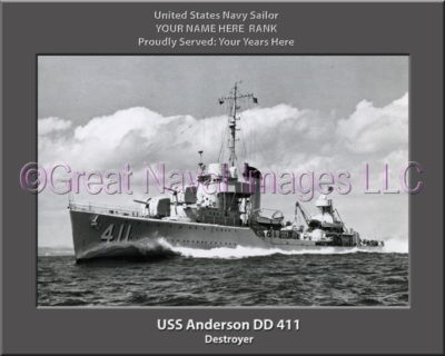 USS Anderson DD 411 Personalized Photo on Canvas