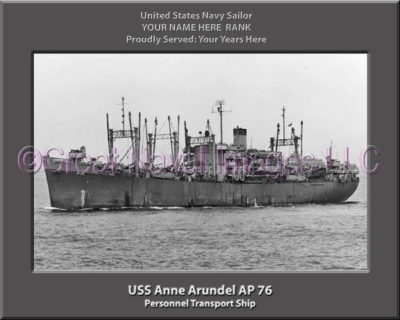 USS Anne Arundel AP 76 Personalized Ship Photo on Canvas