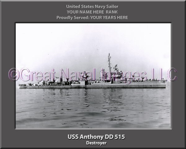 USS Anthony DD 515 Personalized Photo on Canvas