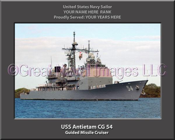 USS Antietam CG 54 Personalized Navy Ship Photo Printed on Canvas