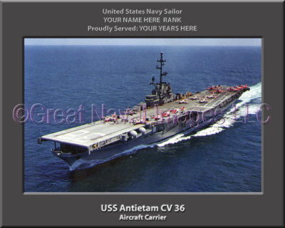 USS Antietam CV 36 Personalized Photo on Canvas