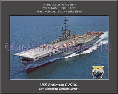 USS Antietam CVS 36 Personalized Photo on Canvas