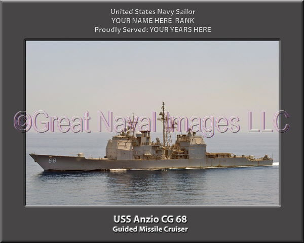 USS Anzio CG 68 Personalized Navy Ship Photo Printed on Canvas