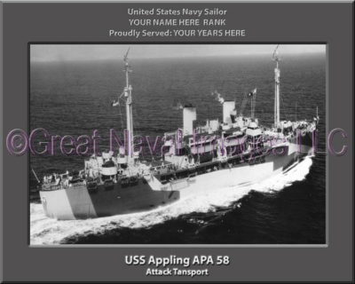 USS Appling APA 58 Personalized Navy Ship PHoto