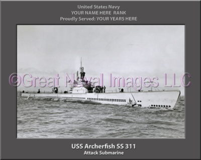 USS Archerfish SS 311 Personalized Photo on Canvas