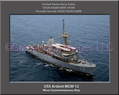 USS Ardent MCM 12 Personalized and Printed on Canvas